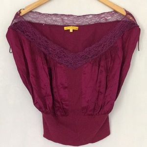 Catherine Malandrino 100 % Silk lace blouse.
